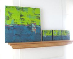 Three Small Turquoise and Lime Green Abstract by BrookeHowie, $149.00