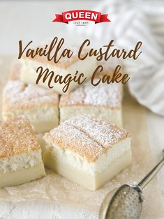 Vanilla Custard Magic Cake - A simple vanilla custard transforms into a triple layer custard cake! Fall in love with its chewy base, creamy middle and cakey top. Vanilla Custard Cake Recipe, Custard Desserts, Custard Recipes, Köstliche Desserts, Baking Recipes, Dessert Recipes, Vanilla Pudding Desserts, Custard Tart, Magic Cake Recipes