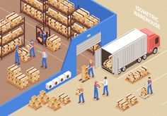 Buy Logistics and Warehouse Illustration by macrovector on GraphicRiver. Logistics and warehouse background with workers and cargo symbols isometric vector illustration Warehouse Management System, Supply Chain Management, Inventory Management, Time Management, Warehouse Design, Fulfillment Center, Engineering Firms, Data Analytics, Vector Photo