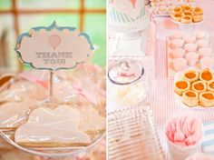 pink hot air balloon baby shower thank you favor cookies and desserts