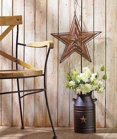 Rustic MILK CAN VASE & STAR WALL HANGING SET Farmhouse Country Decor Gift #Milkcan