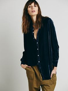 CP Shades for Free People CP Shades Velvet Buttondown at Free People Clothing Boutique