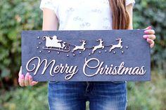 Merry Christmas wood sign 3D Merry Christmas banner Christmas
