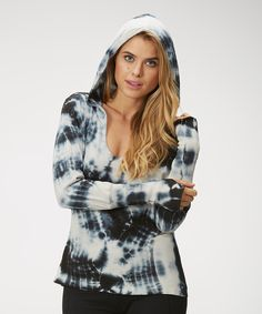This Marika Black & White Tie-Dye Shirred Back Hoodie by  is perfect! #zulilyfinds