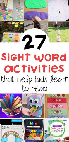 If you're looking to add sight word activities to your Kindergarten learning  activities, here are 27 amazing ideas! #kindergarten #sightwords #prek First Grade Activities, Sight Word Activities, Reading Activities, Literacy Activities, Literacy Centers, Teaching Reading, Reading Resources, Learning Sight Words, Literacy Programs