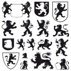Silhouettes Of Heraldic Lions Royalty Free Cliparts, Vectors, And ...
