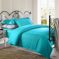 Ellington Home 1800 Series 2 Piece Damask Stripe Duvet Cover Set (Twin Aqua Blue)