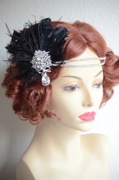 Art deco bride, art deco headpiece, daisy, Gatsby, flapper, double strand rhinestone headband with detachable feather facinator
