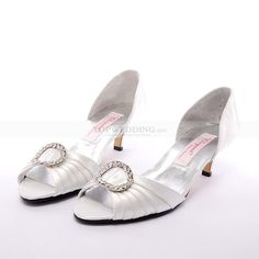 Ivory Crinkled Satin Upper Open Toes Mid Heel Wedding Shoes with Rhinestone