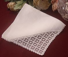 Linen Crocheted Handkerchief White with Lace - White.
