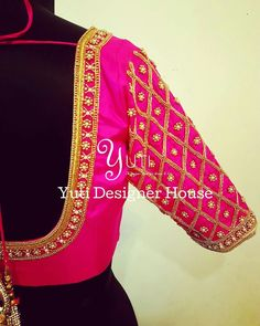 A Hotpink Embroidered blouse by YUTI! For Price and Other details reach us at or Whatsapp: 7010905260 Address: Valmiki street, Thiruvanmyur. Peacock Blouse Designs, Cutwork Blouse Designs, Wedding Saree Blouse Designs, Pattu Saree Blouse Designs, Simple Blouse Designs, Blouse Neck Designs, Lehenga, Sari Design, Marie