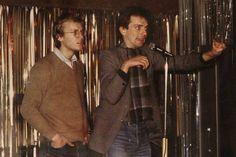 """mrtrashy: """" Rik and Ade's 1979 debut at the Comedy Store, in London. Founder of the Comedy Store, Don Ward said: """"He was the front man and would stand doing his 'people's poet' stuff while behind him. Comedy Store, Comedy Films, Ade Edmondson, Rude Hand Gestures, Rik Mayall, British Comedy, Clean Shoes, Young Ones, Having A Crush"""