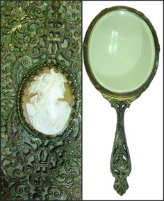 Antique French Ornate Hand Mirror - Victorian Shell Cameo - Beveled Antique Mirror - Marked - Rare - Copper Brass by Antike on Etsy https://www.etsy.com/listing/238751229/antique-french-ornate-hand-mirror