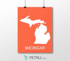 Michigan print - Michigan art - Michigan poster - Michigan wall art - Michigan printable poster - Michigan map - Michigan navy art - Instant by on Etsy Michigan, Printable, Sunset Art, Posters, Map, Wall Art, Unique Jewelry, Handmade Gifts, Quotes