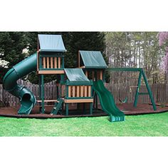 This Monkey Playsystem Package swing set from Congo is a premium, ready-to-assemble polymer coated wooden playset. This swing set features hours of fun with the wave slide, rock wall, fort, turbo tower and sand box.