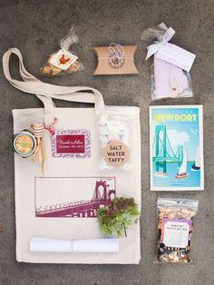 Newport, RI wedding welcome bag Wedding Welcome Gifts, Destination Wedding Welcome Bag, Wedding Gift Bags, Wedding Gifts For Guests, Beach Wedding Favors, Bridal Shower Favors, Wedding Ideas, Wedding Stuff, Destination Weddings