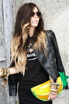Bewolf Blog #leather jacket #t-shirt #lace pencil skirt #pineapple clutch #sunglasses www.bewolfclothing.com