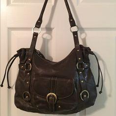 Amazing Michael Rome Brown Leather Shoulder Bag Beautiful Zip Closure Front Pocket