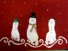 Snowmen!! LOVE this. This would be cute to do each year. My snowman would be the smallest in another 2 years!
