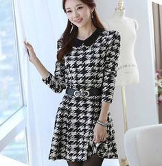 Best Seller Women's Houndstooth Basic Dresses Autumn and Winter Long-sleeve Dress Winter 2014 New Fashion Plus Size Dress Casual $28.73