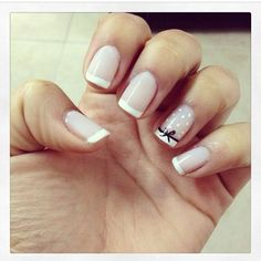 French nails with nice bow detail 2018 - LadyStyle