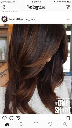 Trendy Hair Color Highlights : Are you looking for hair color dark hairdos See our collection full of hai Cabello Color Chocolate, Dark Hair With Highlights, Chocolate Hair With Caramel Highlights, Brown Hair With Lowlights, Brown Blonde, Chestnut Highlights, Chocolate Brown Hair Color, Carmel Brown Hair Color, Chesnut Hair Color