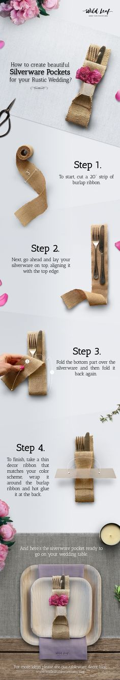 DIY: Burlap Silverware Pockets for your rustic themed wedding. Cutlery pouches, flatware holders, utensils pockets and palm leaf plates for rustic barn weddings, birthdays or outdoor parties.