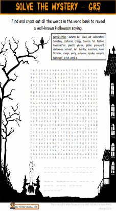 Grade 4 Halloween Worksheet - double puzzle, word puzzle ...