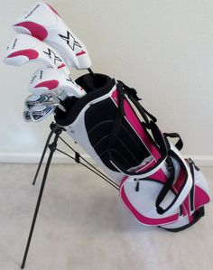 Ladies Complete Golf Club Set Driver, Fairway Wood, Hybrid, Irons, Putter and Womens Bag Pink -- Click image for more details. (This is an affiliate link) Ladies Golf Clubs, Girls Golf, Womens Golf Set, Crazy Golf, Golf Club Sets, Perfect Golf, Golf Bags, Pink Color, Pink Ladies