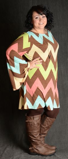 Brown/Coral/Green/Aqua/Tan Long Bell Sleeve 95% Polyester 5% Spandex Shown with Coffee Nylon Leggings