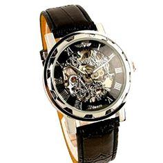 Sale Preis: Winner - Herrenuhr - Selbstaufzug mechanische Uhr - Leder armbanduhr - silbern & schwarz. Gutscheine & Coole Geschenke für Frauen, Männer und Freunde. Kaufen bei http://coolegeschenkideen.de/winner-herrenuhr-selbstaufzug-mechanische-uhr-leder-armbanduhr-silbern-schwarz