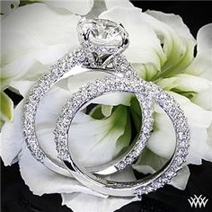 "Elegantly styled, the 'Elena Rounded Pave' Diamond Wedding Set is sure to make your love feel like royalty. The ""Elena Rounded Pave"" Diamond Engagement Ring is adorned with approximately 115 A CUT ABOVE® Hearts and Arrows Diamond . Pretty Rings, Beautiful Rings, Diamond Rings, Diamond Engagement Rings, Ruby Rings, Diamond Stone, Black Diamond, Diamond Wedding Sets, Wedding Ring"