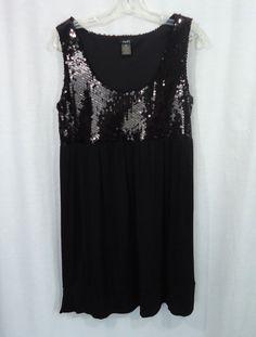 Juniors RUE 21 Black Sequined Knit Bottom Sleeveless Empire Waist Dress, Size XL #rue21 #EmpireWaist #LittleBlackDress