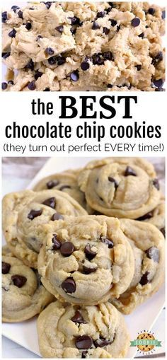 This simple recipe truly makes the Best Chocolate Chip Cookies and they turn out., Desserts, This simple recipe truly makes the Best Chocolate Chip Cookies and they turn out perfectly soft and chewy every single time! We've tried LOTS of choco. Cake Mix Cookie Recipes, Best Cookie Recipes, Baking Recipes, Best Dessert Recipes, American Cookies Recipe, Best Food Recipes, Crisco Recipes, Baking Desserts, Gastronomia