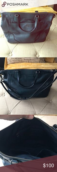 Coach handbag: gently used Crossbody Coach purse that was gently used. It is blue. It has lots of pockets. One is located on the outside which is a great place to keep your car keys.  It also has a zipper pocket, a pocket for your cell phone, and an additional pocket which I used for my sunglasses on the insides As pictured, It has a cross body strap that I have shortened to wear on my shoulder but it can be adjusted to be a cross body strap again. Coach Bags Crossbody Bags