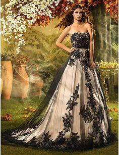 A-line/Princess Strapless Court Train Lace Wedding Dress - USD $ 499.99