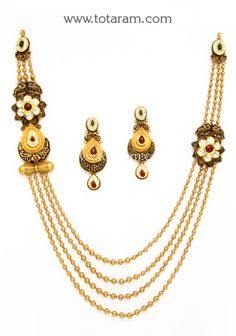 22K Gold Antique Long Necklace & Drop Earrings Set with Stones: Totaram Jewelers: Buy Indian Gold jewelry & 18K Diamond jewelry