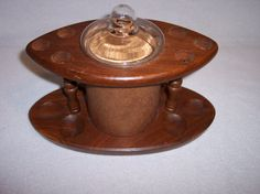 Vintage Wood Pipe Holder Stand Rack with Glass Top Cork Humidor by Fairfax Tobacciana