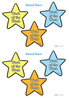 Twinkl Resources >> Work Of The Week Award Star  >> Classroom printables for Pre-School, Kindergarten, Primary School and beyond! work of the week, award, star, award star, creative, colour themed, well done, reward, medal, school, general, certificate, achievement