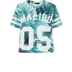 White Palm Leaf Malibu 05 Cropped Baseball T-Shirt (9.29 CHF) ❤ liked on Polyvore featuring tops, t-shirts, shirts, crop tops, round neck t shirt, white t shirt, t shirts, white baseball tee and crop tee