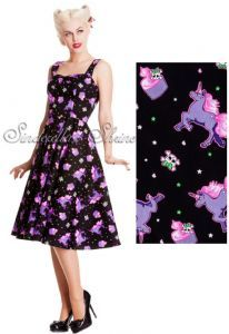 "Hell Bunny Black ""Mystical"" 50's Unicorn Cupcake Dress"