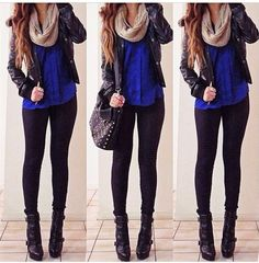 Live cobalt blue and black together! Great winter outfit