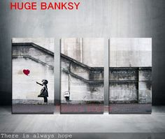 Freeshipping Canvas ONLY 3 Pieces Large Banksy There Is Always Hope Modern Wall Painting Home Decor Print Art On Prints Art-in Painting & Calligraphy from Home & Garden on Aliexpress.com   Alibaba Group