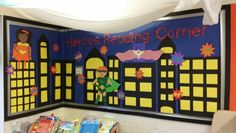 Super Hero's Reading Corner! Our super inviting super hero book nook where children feel inspired to read! Mcnally first 12 high frequency words also on display!