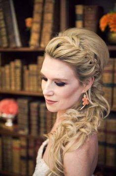 French braided side ponytail bridesmaid hair @Shauna Chandler