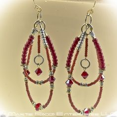 Red double hoop rock star earrings in seed beads and crystals.