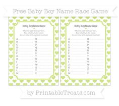 Pastel Lime Green Heart Pattern  Baby Boy Name Race Game