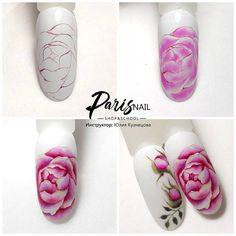 Rose Nail Art, Floral Nail Art, Rose Nails, Gel Nail Art, Flower Nails, Fun Nails, Pretty Nails, Water Color Nails, One Stroke Nails