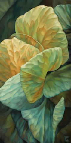Original works in pastel and oil. Inspired by skies, these works use leaves  and petals as a medium within a medium to create images of clouds and  weather.