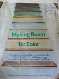 Tore this out of a Country Living magazine. June 2011 issue. Love these stairs. Want to do this with our stairs some day.